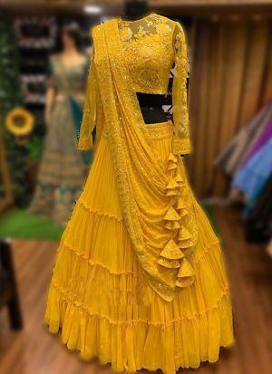 Haldi Special Yellow Embroidered Lehenga Choli