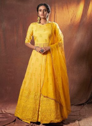 Haldi Special Yellow Lucknowi Work Lehenga Choli