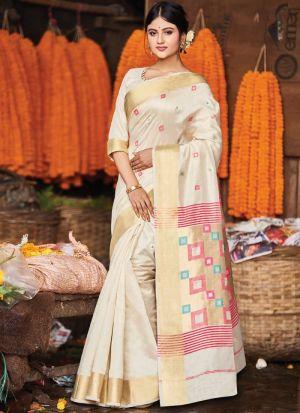 Handloom Cotton Light Cream Designer Traditional Saree