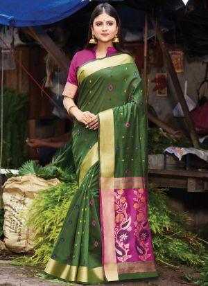 Handloom Cotton Mehandi Festive Wear Indian Traditional Saree