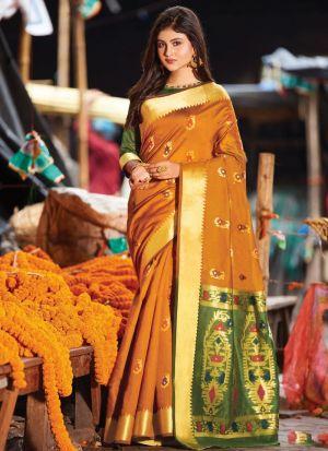 Handloom Cotton Mustard Festive Wear Indian Traditional Saree
