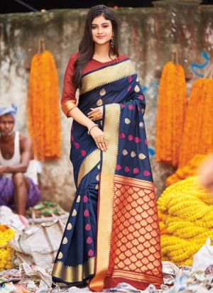 Handloom Cotton Navy Designer Traditional Saree
