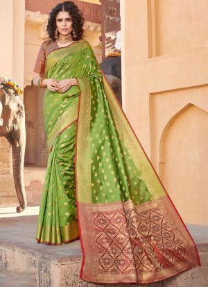 Handloom Silk Parrot Indian Wear Saree