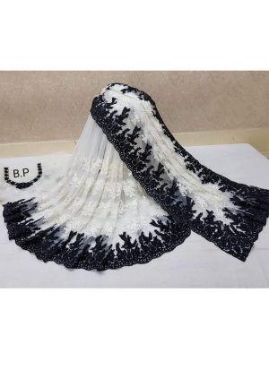 Heavy Embroidery Black Net Saree
