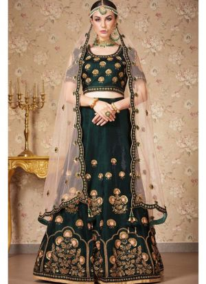 Heavy Embroidery Dark Green Traditional Lehenga Choli For Diwali Celebration