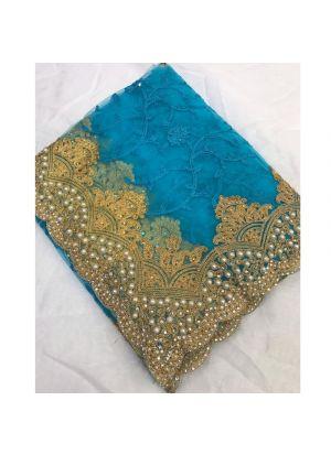Heavy Embroidery Hand Work Sky Blue Banglori Silk Saree