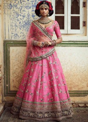 Heavy Embroidery Sabyasachi Designer Lehenga In Pink Colour