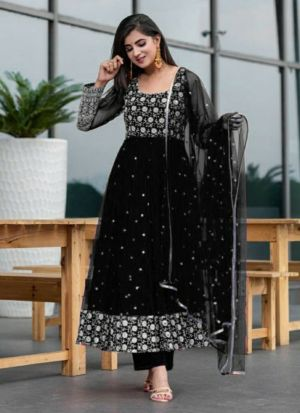 Heavy Georgette Black Anarkali Suit