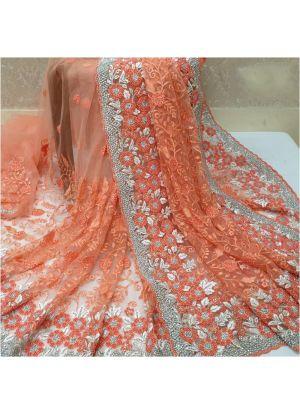 Heavy Naylon Net Orange Color Latest Design Party Wear Saree