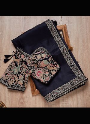 Heavy Organza Silk Blue Embroidery Saree