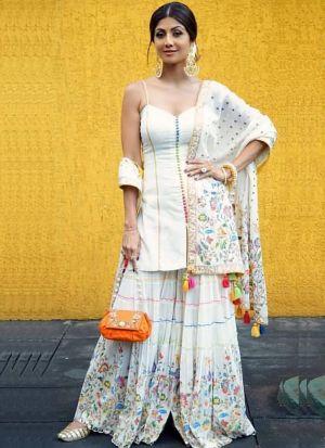 Heavy Slub Silk Bollywood Style White Salwar Suit