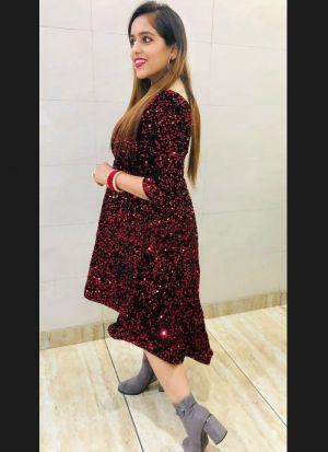 Heavy Velvet Maroon Sequence Dress