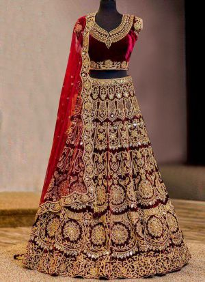 Higly Demanded Maroon Pure Velvet Diamond Work Bridal Lehenga Choli With Mono Net Dupatta