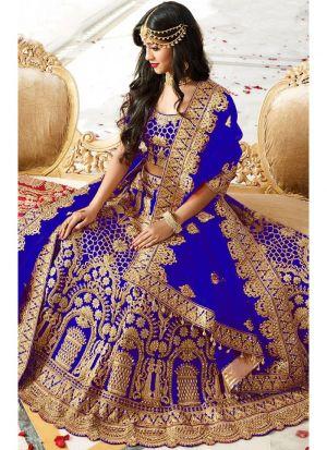 Higly Demanded Royal Blue Banglori Silk Embroidered Bridal Lehenga Choli With Mono Net Dupatta