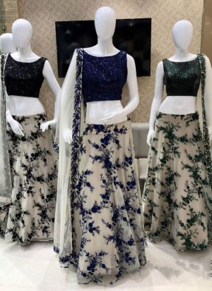 Impressive Black Color Net Sequence Work Lehenga Choli