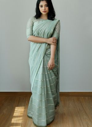 Party Wear Pale Turquoise Sequence Work Dola Silk Saree