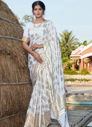 Impressive Foil Printed White Saree