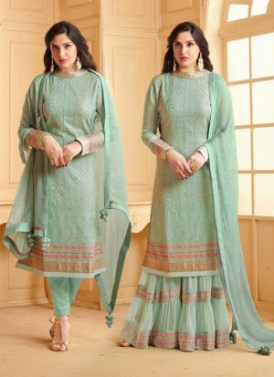 Impressive Mint Embroidered Stylish Salwar Suit