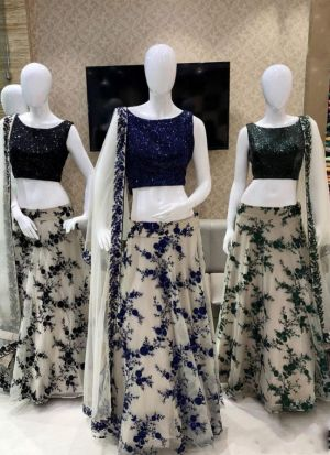 Impressive Royal Blue Color Net Sequence Work Lehenga Choli