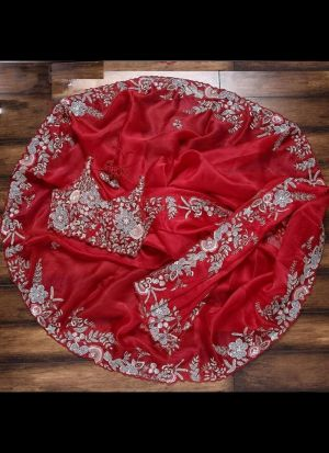 Impressive Thread Embroidered Red Saree