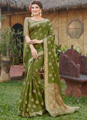 Impressive Wedding Wear Mehandi Thread Work Saree