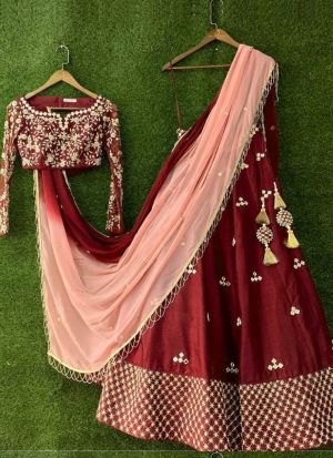 Indian Bridal Style Maroon Zari Embroidery Lehenga Choli