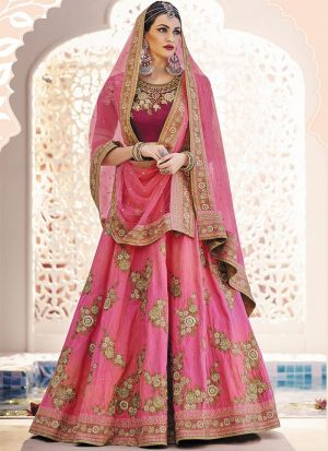 Indian Festive Wear Novel Pink Thread Work Lehenga Choli