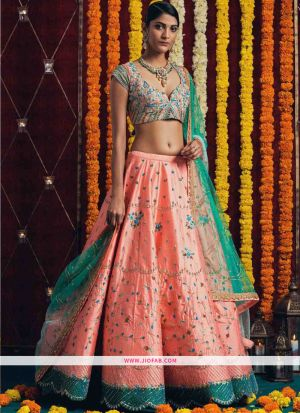 Indian Festive Wear Orange Heavy Embroidery Designer Traditional Lehenga Choli