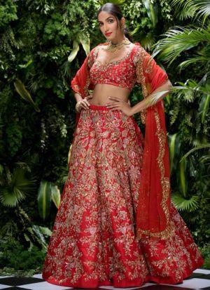 Indian Festive Wear Red Thread Work Designer Traditional Lehenga Choli