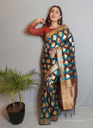 Indian Style Multi Color Silk Saree