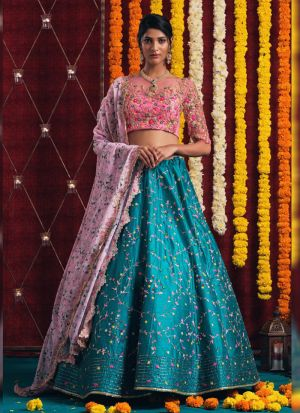 Indian Style Thread Embroidered Teal Blue Lehenga Choli