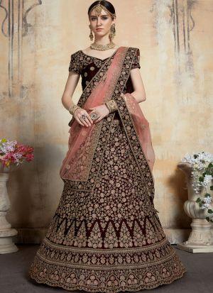 Indian Traditional Maroon Designer Bridal Lehenga Choli