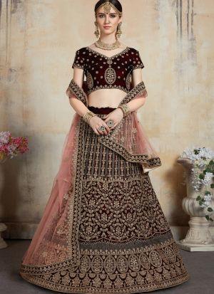 Indian Traditional Maroon Wedding Designer Bridal Lehenga Choli