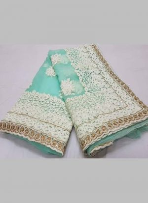Indian Wear Rama Multy Work Fancy Saree