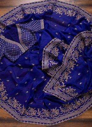 Indigo Blue Beautiful Aari Work Saree