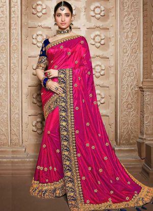 Innovative Magenta Pink Sana Silk Saree