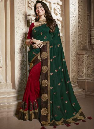 Innovative Maroon And Bottle Green Vichitra Silk Saree