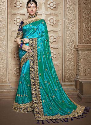 Innovative Turquoise Sana Silk Saree