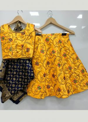 Innovative Yellow Embroidery Lehenga Choli For Girls