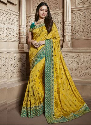 Innovative Yellow Vichitra Silk Saree