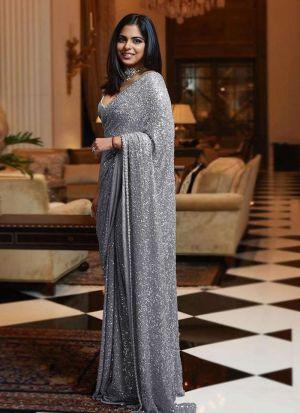 Isha Ambani Grey Sana Silk Saree