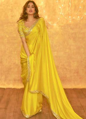 Janhvi Kapoor Lemon Yellow Saree