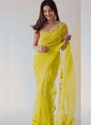 Kajal Aggarwal Lime Yellow Net Thread Embroidered Saree