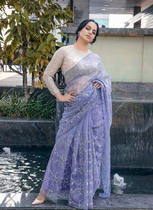 Kangana Rawat Lilac Nylon Net Bollywood Style Party Wear Saree