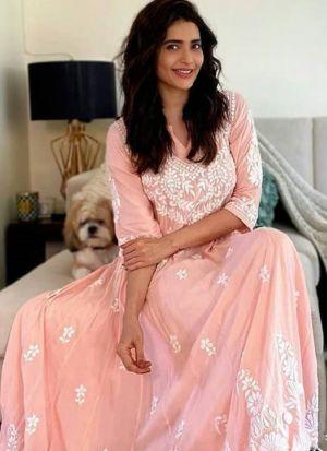 Karishma Tanna Style Peach Chain Stitch Festive Wear Salwar Suit