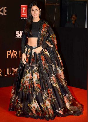 Katrina Kaif Wear Floral Digital Printed Black Lehenga Choli