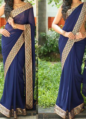 KD-012 Navy Chanderi Cotton Banarasi Traditional Saree