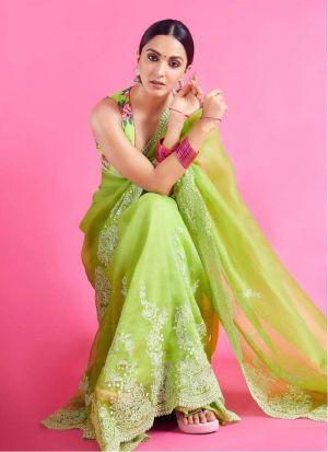 Kiara Advani Lemon Green Embroidery Saree