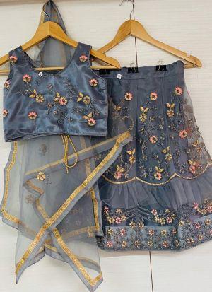 Kids Fashionable Grey Satin Cording Work Lehenga Choli