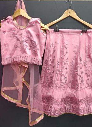 Kids Party Special Pink Net Frill Lehenga Choli